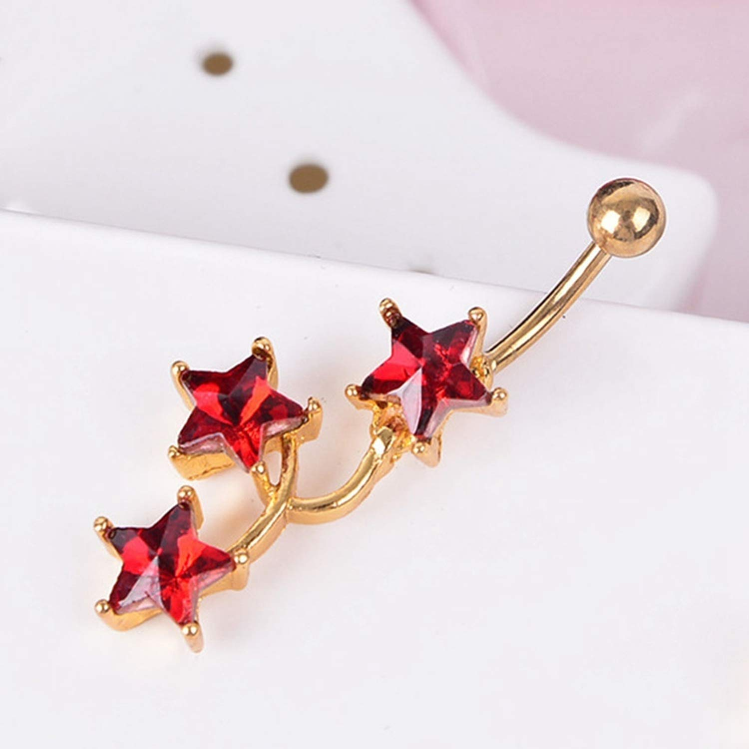 Nona E Ansell Star Pendant Hanging Umbilical Spiral Ring Ring Body Jewelry Surgical Steel Crystal Navel Ring