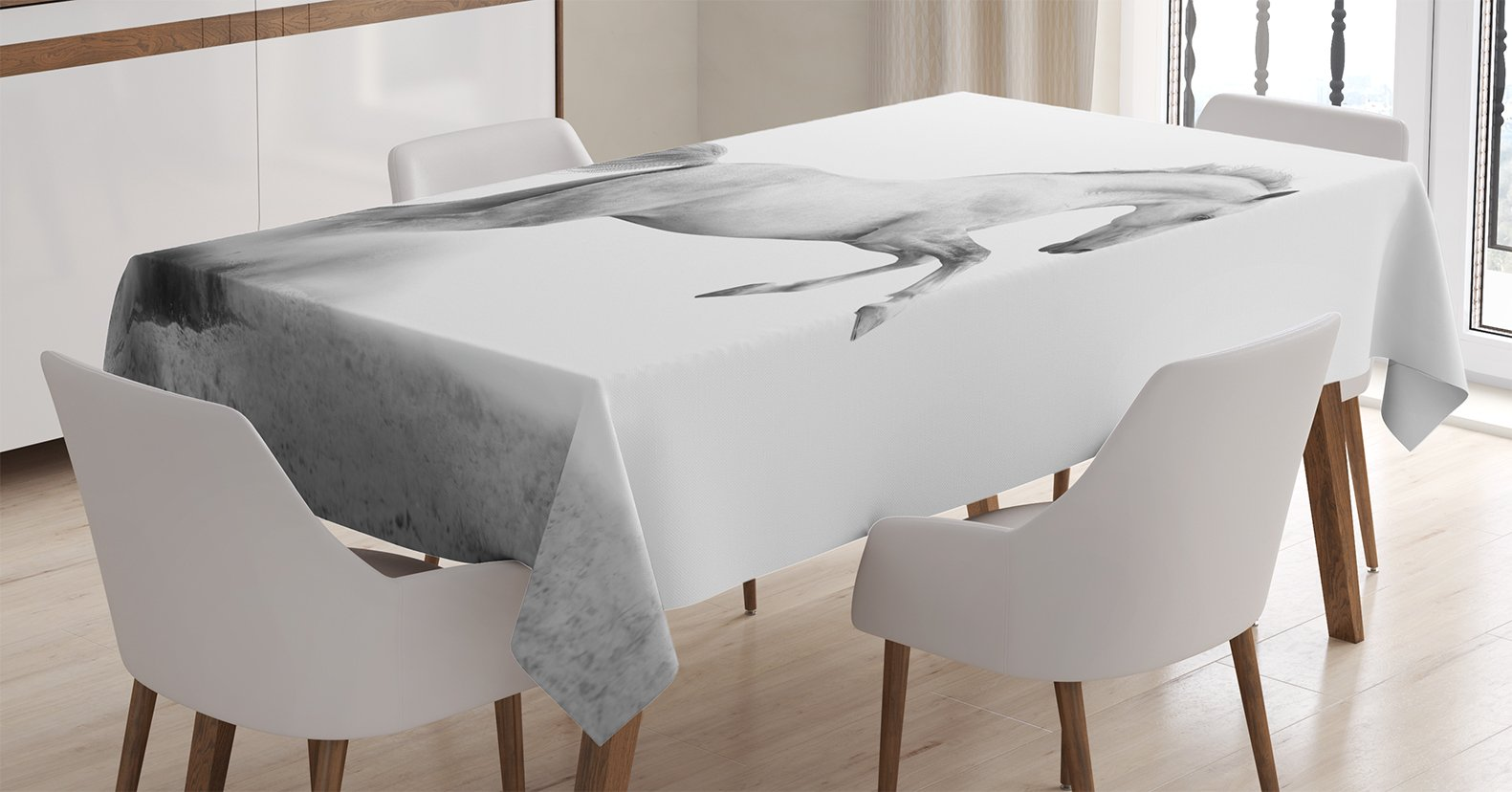 Ambesonne Animal Decor Tablecloth, Horse Power on The Sand Tropic Gulf Island National Seashore Florida Plants Landscape Art, Dining Room Kitchen Rectangular Table Cover, 60 X 90 inches, Grey