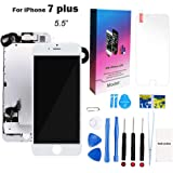 """for iPhone 7 Plus Screen Replacement Kit White 5.5"""" LCD Display for iPhone 7 Plus Replacement Touch Screen Digitizer Full Assembly + Front Camera + Earpiece + Repair Tools + Screen Protector (White)"""