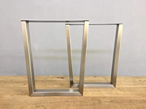 U Shape Life Edge Sofa Bar Table Stainless Tube Legs- 2 Pack - 28H18W - w/Adjustable Leveling Feet - DIY Your Live Edge Console, Sofa & Entryway Tables and Home Bar Table