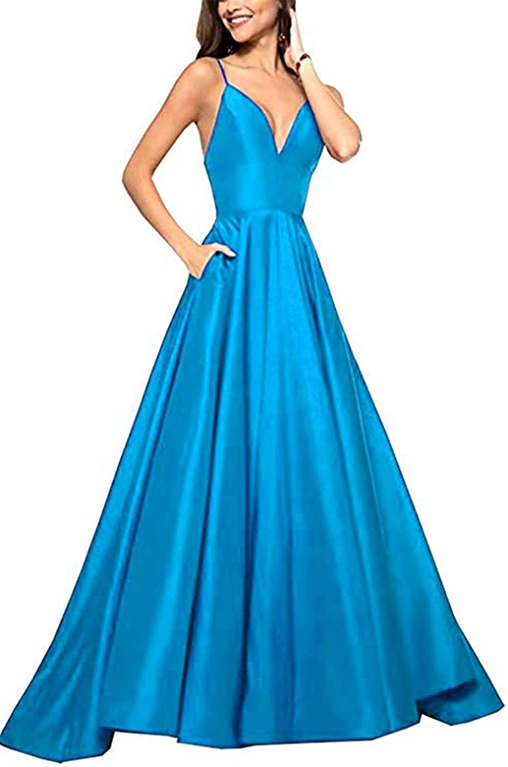bluee QiJunGe V Neck Evening Party Gown A Line Spaghetti Strap Prom Dress with Pocket