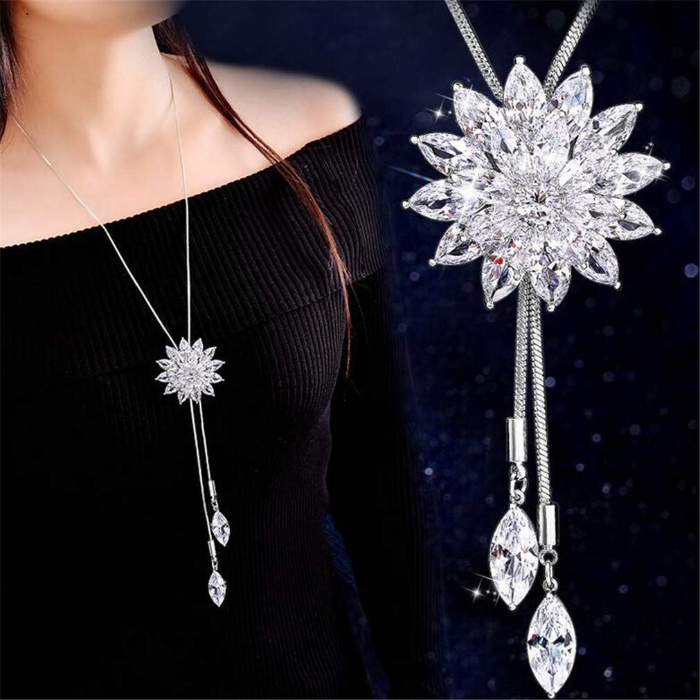 Rurah Zircon Fringed Clover Sweater Chain Necklace Pendant Women Girl Ornaments Fashion with Clothing Accessories (3#)