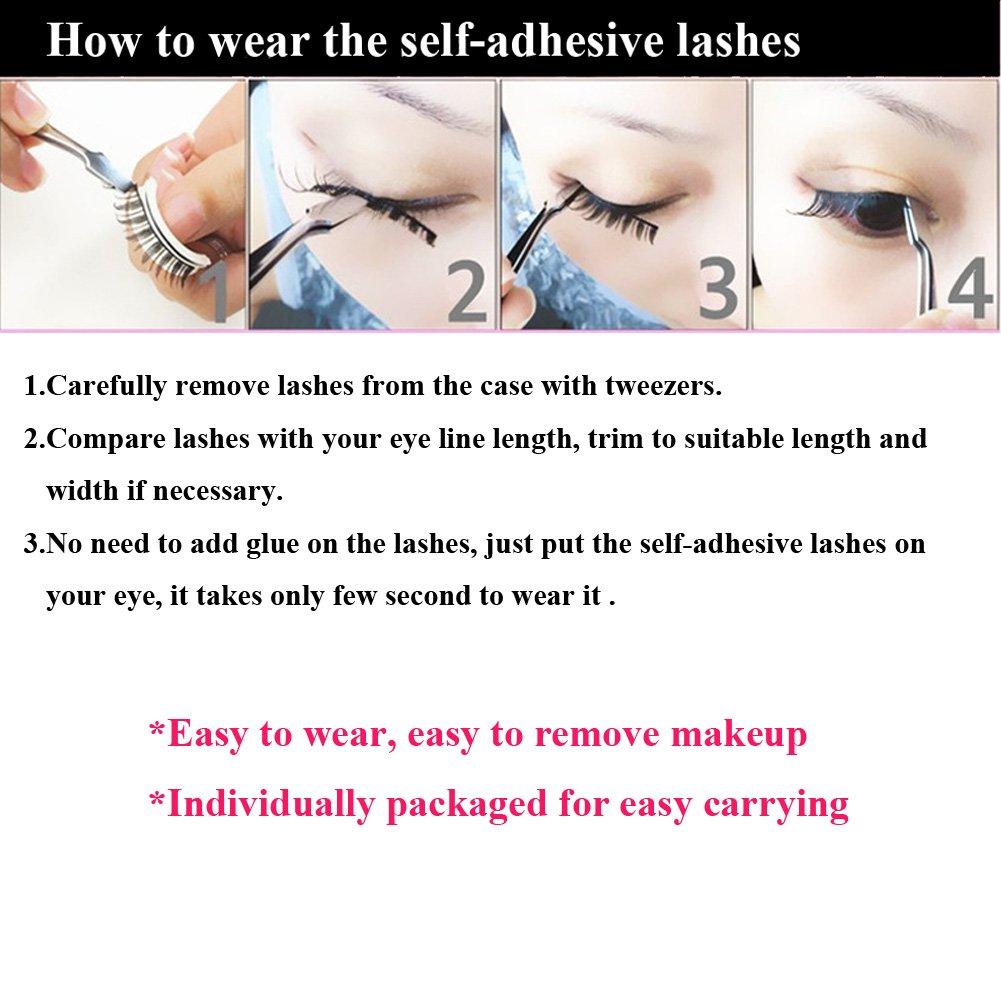 3e34d302c4a Amazon.com : 3D Lashes Self-adhesive False Eyelashes Makeup Reusable  Natural Hand Made Fake Eyelashes 1 Pair Package 2018 New Style : Beauty