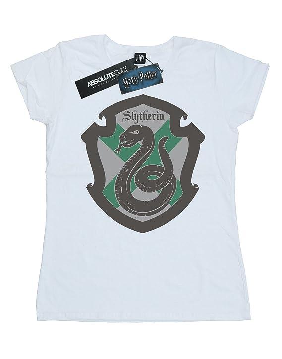 Harry Potter Mujer Slytherin Crest Flat Camiseta: Amazon.es ...