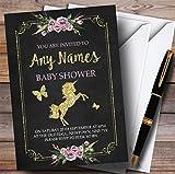 Chalk & Gold Floral Unicorn Invitations Baby Shower Invitations