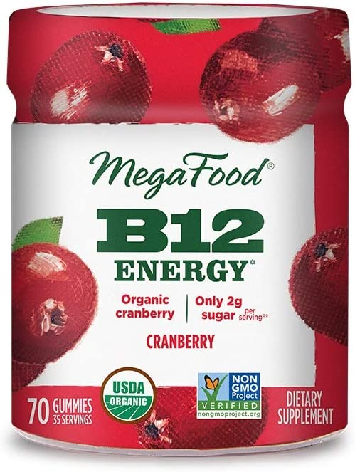 MegaFood, Certified Organic B12 Energy Cranberry Gummies, Soft Chew Vitamin B12 Supplement for Cellular Energy Support, Vegan, 70 Gummies (35 Servings)