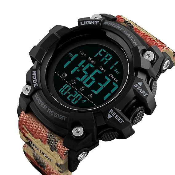 Relojes Digitales para niños y Hombres Deportes Digital Relojes Impermeable 55M Deportes al Aire Libre Reloj analógico con Alarma/Temporizador/Dual Time ...