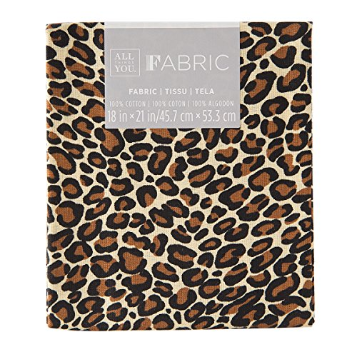 Darice Patterned Quilting, Brown Cheetah Print, 18 by 21 inch Fabric Fat Quarters