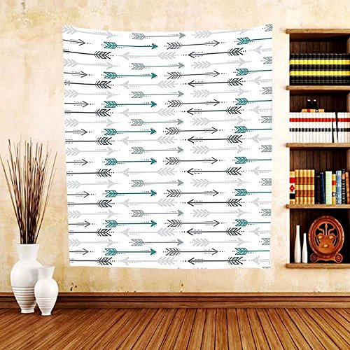 Gzhihine Custom tapestry Teal Decor Collection Retro Arrow Pattern In Horizontal Line Heading To Opposite Directions Artwork Bedroom Living Room Dorm Tapestry Grey Teal - Outlets Directions Beach To Palm