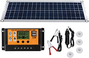 MARATTI Flexible Solar Panel Kit, with Rated Voltage 10W Solar Panel Charger Regulator and Car Charger for 5/18 Volt Car RV Vehicle Marine Boat Home Off Grid System.