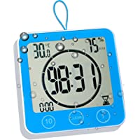 homemelinda Digital Shower Clock Timer Temperature Humidity Monitor Function, Waterproof Bathroom Clock Water Spray…