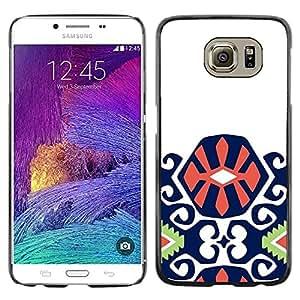 TopCaseStore / la caja del caucho duro de la cubierta de protección de la piel - Purple Green Orange Pattern Inca - Samsung Galaxy S6 SM-G920