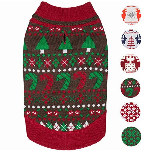 Blueberry Pet 6 Patterns Ugly Christmas Santa Claus Holiday Season Shawl Collar Dog Sweater, Back Length 10