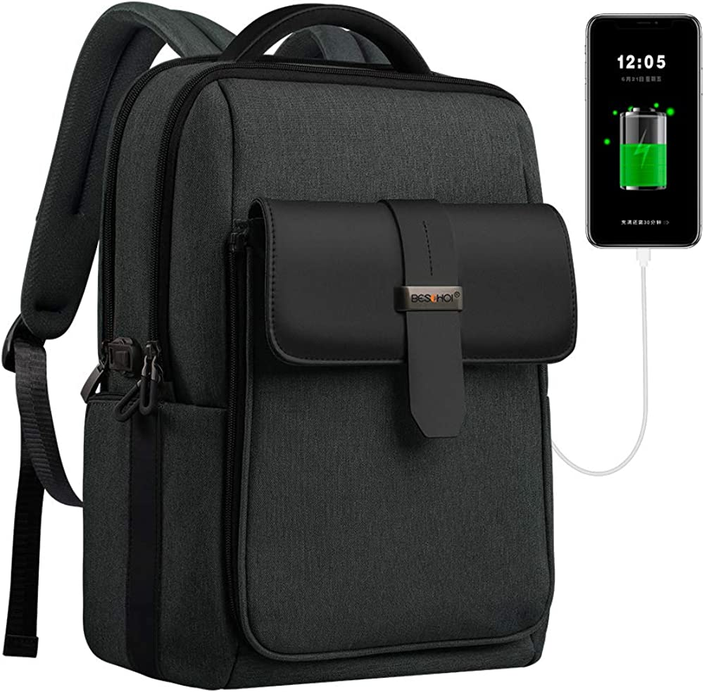 Beschoi 15.6 inch Laptop Backpack Detachable Large Travel Backpack with USB Charging Port, Waterproof Outdoor Anti-Theft College School Computer Bag for Men and Women