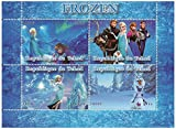 The Disney sensation Frozen collectible stamp sheet with Elsa, Anna, Olaf and Kristoff in a world of ice / 2014 / Benin / 1000F