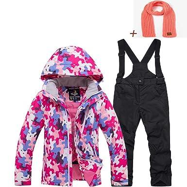 baf61c8eb5d6 Amazon.com  Girl s Ski Jacket and Pants Windproof   Waterproof Snow ...
