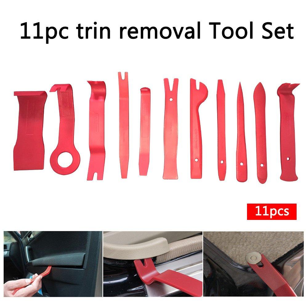 KKmoon 11Pcs Auto Car Radio Panel Interior Door Clip Panel Pry Tool Trim Dashboard Removal Opening Tool Set DIY Car Pry Repair Tool Kit