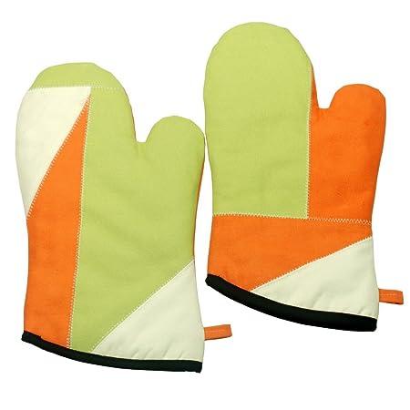 Cristal Verde] a prueba de calor de la lona micro-Horno guantes ...