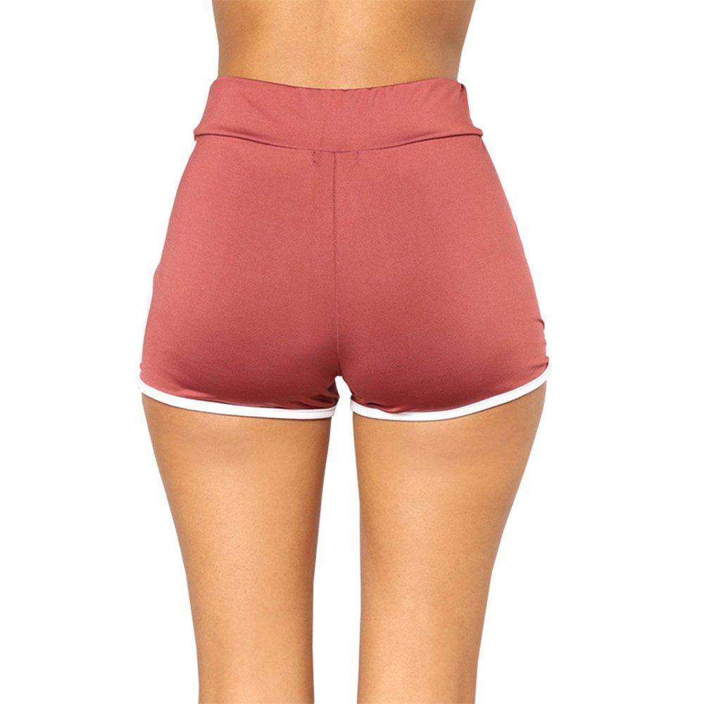 2ebe1a2702bb14 Aelegant Sommer Damen Reizvolles Funktions-Sport Hotpants Einfarbig Hohe  Taille Sport Hose Fitness Yoga Shorts größeres Bild