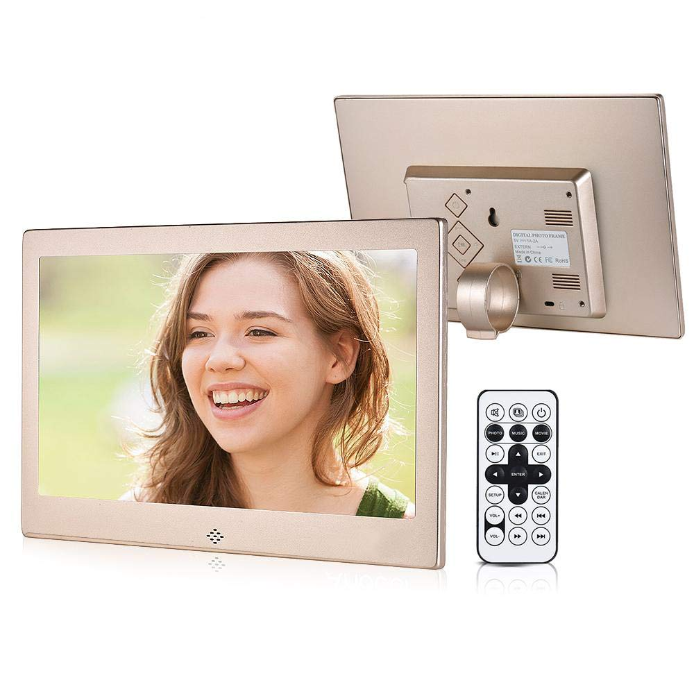 10' LED Digital Photo Frame 720P Video Music Calendar Clock TXT Player 1024 * 600 Resolution Metal Frame W/Remote Control, Silver YL-Light