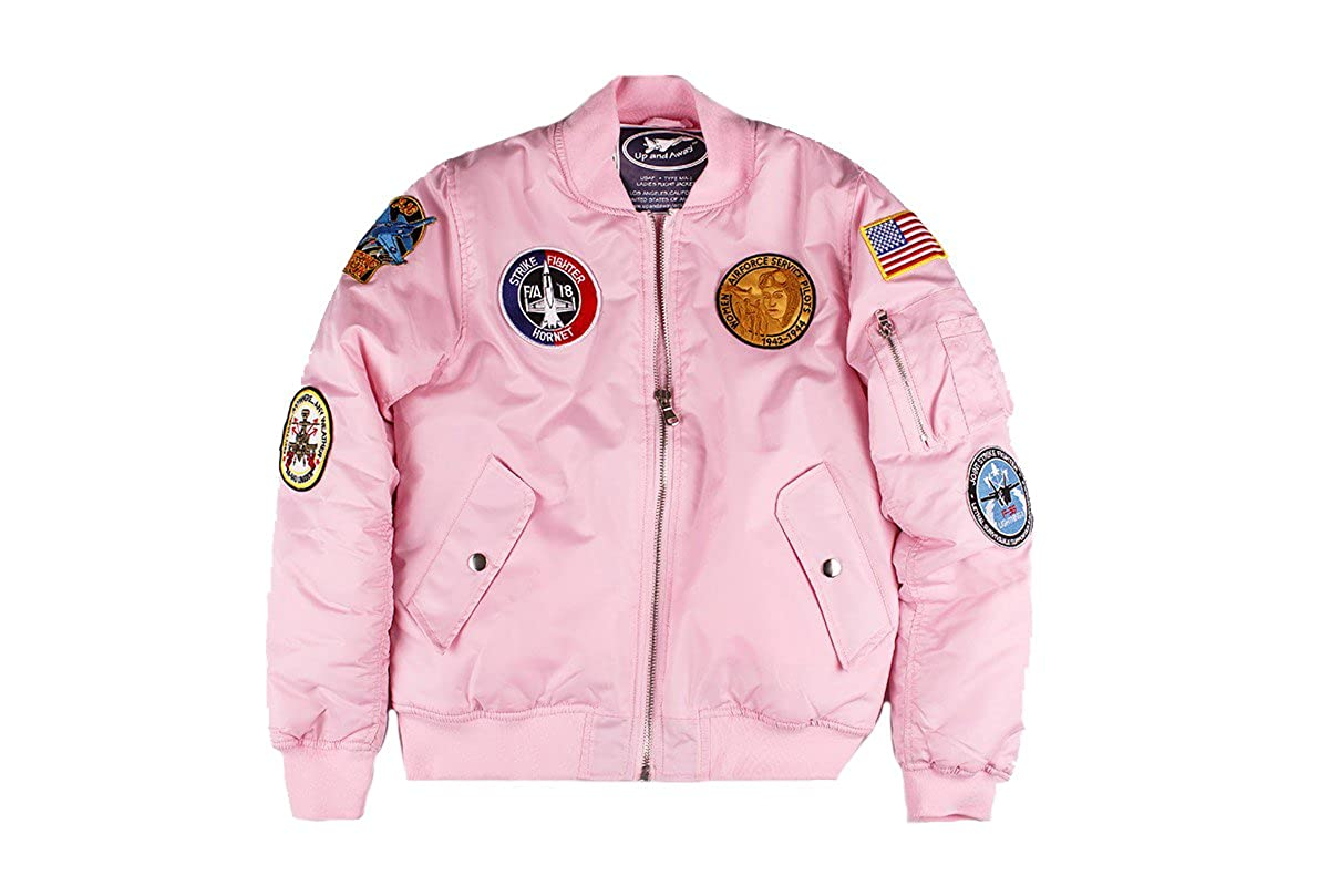 43fb078c3 Amazon.com: Up and Away Adult Ladies MA-1 Flight Jacket: Clothing