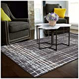 Superior Painted Stripes Collection Area Rug, 6mm Pile Height with Jute Backing, Affordable Contemporary Rugs, Chic Geometric Windowpane Pattern -  8' x 10' Rug, Grey