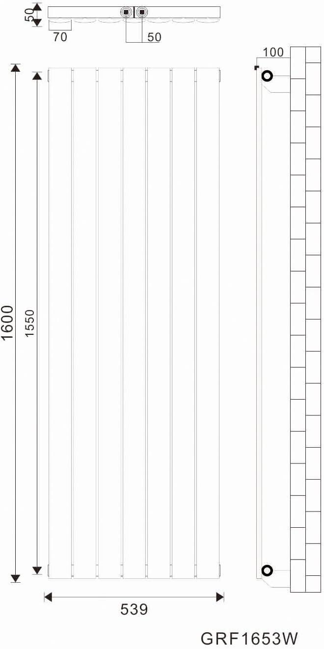 Design Flach Heizk/örper 1800x539mm Antrazit Paneelheizk/örper Vertikal Mittelanschluss Einlagig