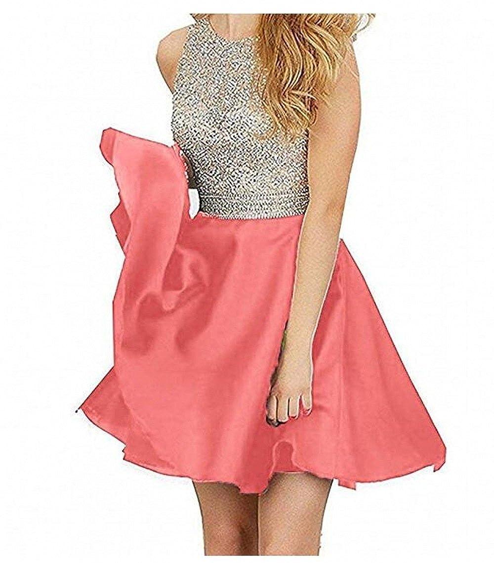 Coral TANGFUTI Homecoming Dresses Short Beading Satin Prom Dresses Open Back 107