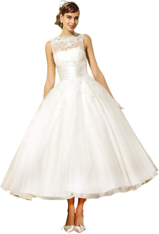 YASIOU Hochzeitskleid Damen A Linie Kurz Spitze T/üll Standesamt Vintage Brautkleider Knielang Hochzeitskleider R/ückenfrei