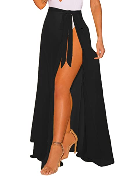 9e66697816bf8 Image Unavailable. Image not available for. Color: ROSKIKI Womens Beach  Skirt Coverup Wrap Slit Long Beach Sarong with Fringe Sexy Summer Sheer  Solid