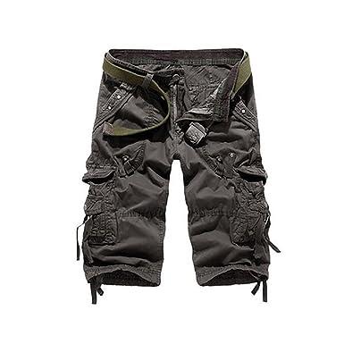 325cbdd47e8d80 OMUUTR Herren Shorts Kurze Hose Sommer 3/4 Arbeitshose Bundhose Taschen ohne  GürtelKhaki,Grau