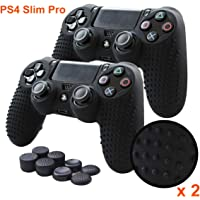 PS4 Controller Grips,Pandaren Studded Anti-Slip Silicone Cover Skin Set Compatible for PS4 /Slim/PRO Controller(Black…