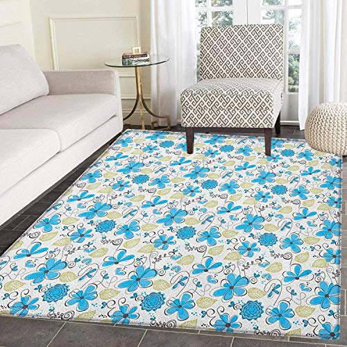 (Floral Rugs for Bedroom Doodle Style Hearts Leaves Lines and Swirls Pattern Abstract Natural Shapes Circle Rugs for Living Room 2'x3' Blue Black Green)