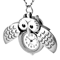 Pocket Watch Wings Owl Shape Vintage Numerals Scale Watch Watch Chain Watch for Friend Family (Antique Brass)