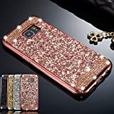ZCDAYE Case for Samsung Galaxy S7 Edge,Bling Glitter [Crystal Rhinestone Diamond] Soft TPU Rubber Silicone [Electroplating Edge] Shockproof Cover for Samsung Galaxy S7 Edge - Rose Gold