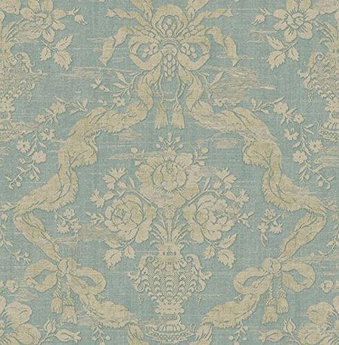Wallpaper Designer Cream & Aqua Floral in Urn With Ribbon Trellis Faux Fabric Antique -