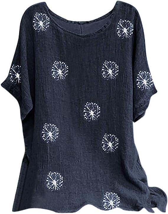 Camisetas Mujer Manga Corta Tallas Grandes Cuello Redondo Casual Tops Verano Moda Flores Impresión Algodón Blusa Camisa Basica Fiesta Camiseta Suelto ...