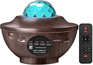 Amouhom Star Projector Night Light - LED Ocean Wave Projector for Ceiling for Adults Tiktok Starlight Projector for Bedroom Bluetooth Music Speaker Gifts for Christmas Decor Holidays Party Ambiance