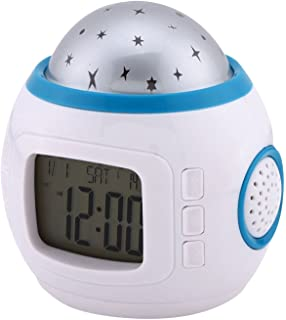 Amazon gpct projection alarm clock digital lcd voice talking joystar sky star night light projector lamp bedroom alarm clock with music mozeypictures Gallery