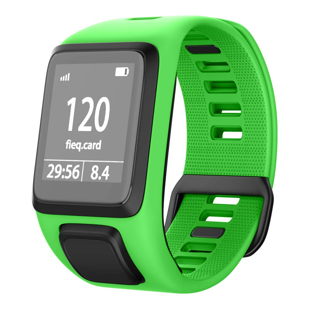NotoCity Compatible with Tomtom Watch Band Silicone Watch Strap Replacement for Spark/Spark 3/Golfer 2/Adventurer/Runner 2/3 Smartwatch(Green)
