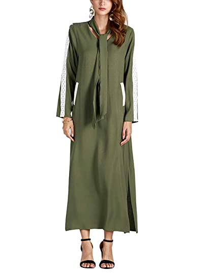 Vestido verde militar manga larga