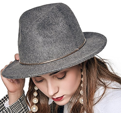 100% Wool Felt Hats (JNINTH Trendy 100% Wool Felt Fedora Hats Wide Brim Comfortable Adjustable Cap with The Unique Metal Circle for Women (Gray))
