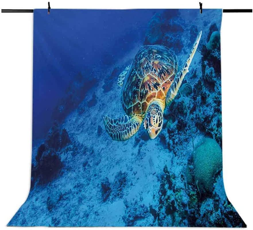 8x10 FT Photo Backdrops,Oceanic Wildlife Themed Photo of Sea Turtle in Deep Blue Waters Coral Reef Hawaiian Background for Baby Shower Birthday Wedding Bridal Shower Party Decoration Photo Studio