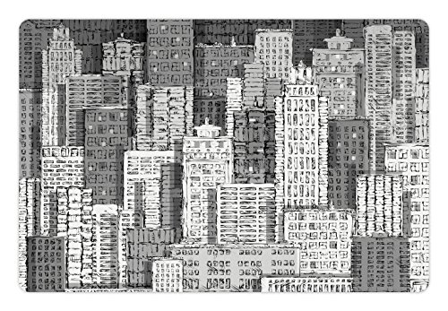 Lunarable New York Pet Mat for Food and Water, High Buildings of Metropolitan Life Skyscrapers and Twin Towers, Rectangle Non-Slip Rubber Mat for Dogs and Cats, Charcoal Grey White and ()