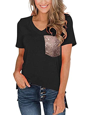 aab0d282052 YQZB Women's T-Shirt Simple Sequin Pocket Short Sleeve Stylish Casual  V-Neck Loose