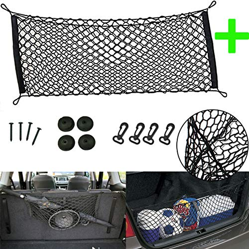 Xotic Tech Black Mesh Pocket Envelope Trunk Cargo Organizer Bin Storage Net Fit Hatchback for Ford Mustang Chevrolet GMC Kia