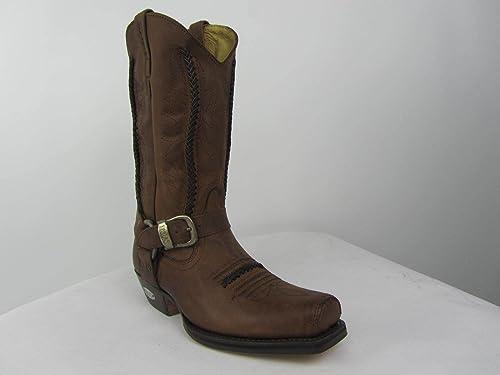 c9e85630fdd Loblan 641 Brown Waxy Leather Mens Cowboy Boots Classic Biker Western