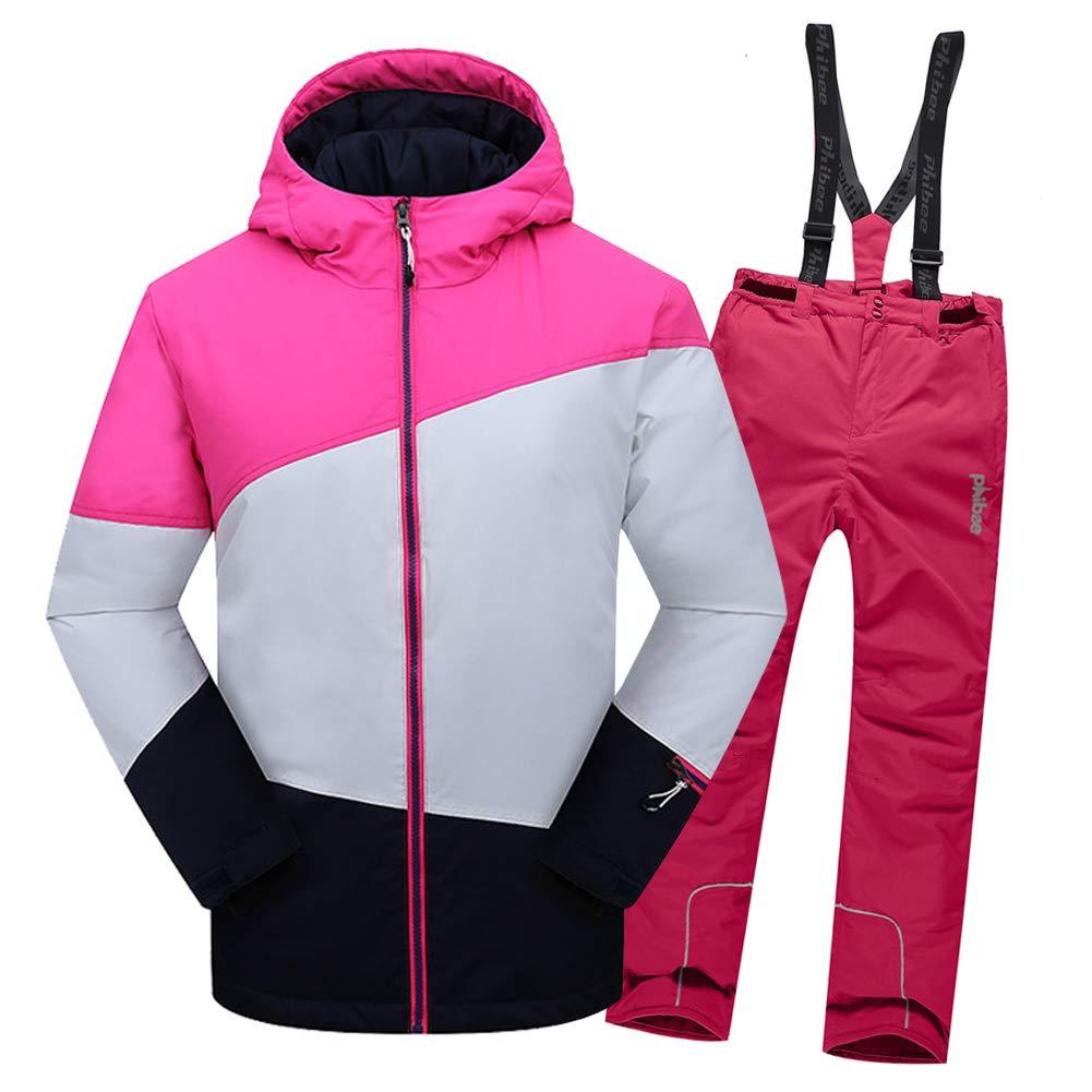 Top Rose+pantalon Rose B 4-5 ans  hauteur recomhommedée 105-115cm LPATTERN Enfant Garçon Fille Ensemble de Ski Coupe-Vent Combinaison Unisexe de Ski Imperméable Chaud épais 2PCS 3-13ans