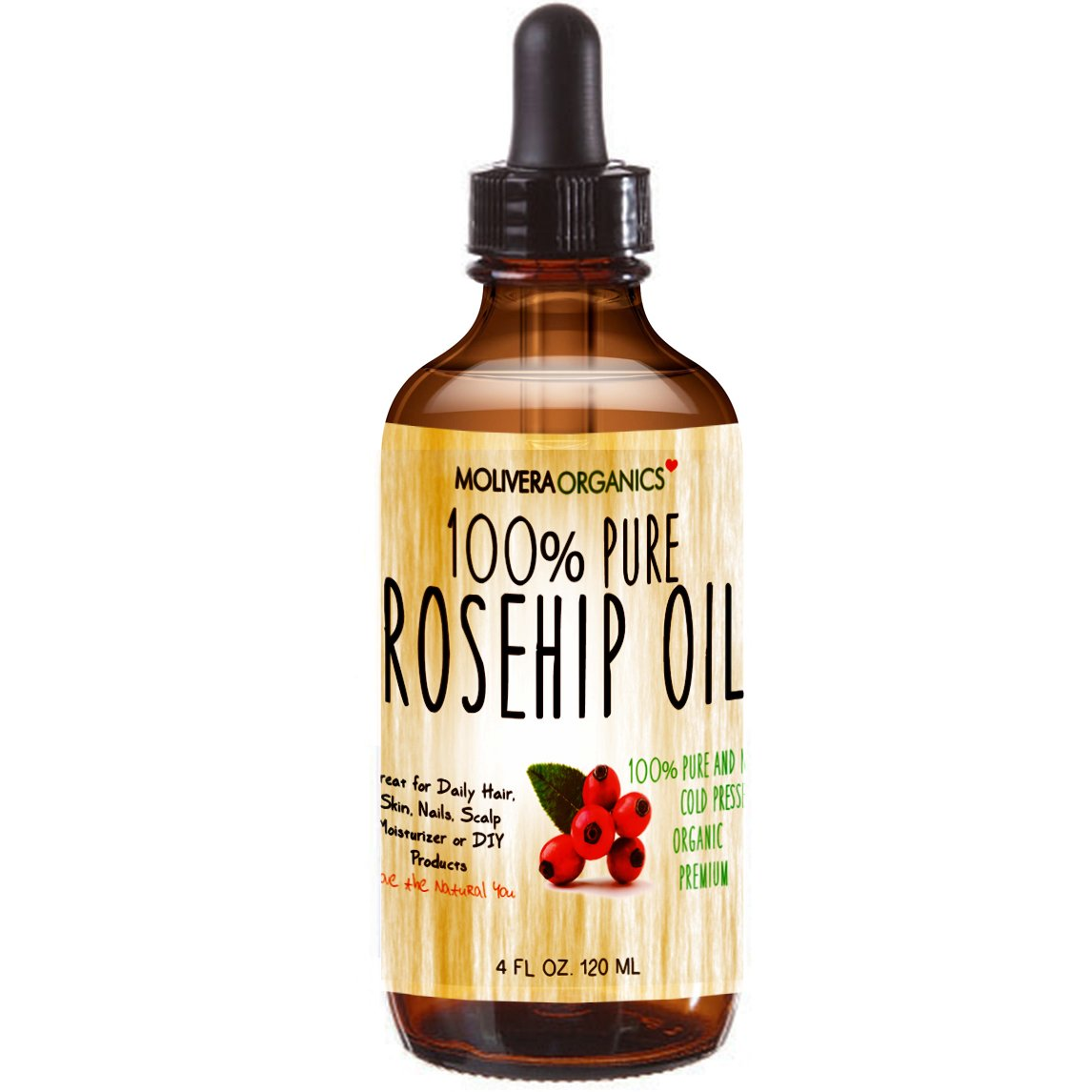 Molivera Organics Rosehip Oil 4 Fl Oz. 100% Pure Premium Organic Cold Pressed Virgin Rosehip Seed Oil -Best for Hair, Skin, Face & Nails – Great for DIY – UV Resistant Bottle