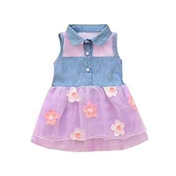 beee66dc7 Amazon.com  Feitong Princess Cute Girls Denim Kids Sleeveless Tulle ...